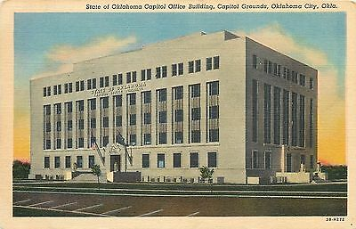 Oklahoma City~Oklahoma State Capitol Office Building~1943 Linen Postcard