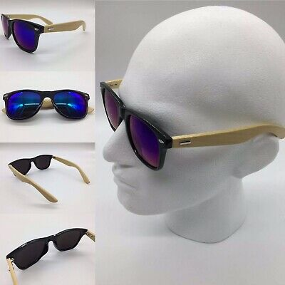 Handcrafted 2019 Bamboo Wood Arms Blue Mirror Lenses Sunglasses 100% UV 400