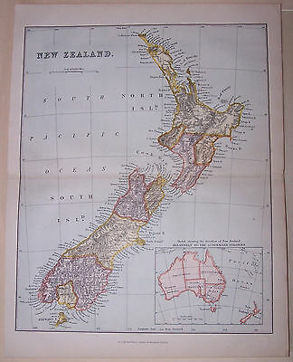 ANTIQUE COLOURED MAP OF NEW ZEALAND, from an 1878 Encyclopaedia