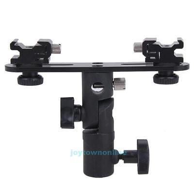 Dual Hot Shoe Swivel Lamp Bulb Speedlight Flash Stand Mount Bracket Holder New