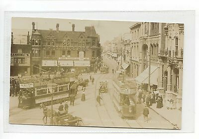 Suffolk - Rppc Trams In The Centre Of Ipswich
