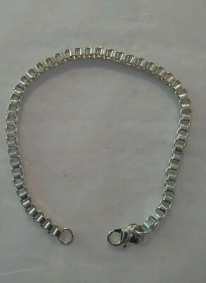 Heavy Sterling Silver Plated Box Chain Bracelet 7.5in gift lady women