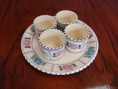 Vintage  Art Deco Honiton Pottery Devon Egg Cup Set x Four & Plate Hand painted