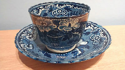 Unusual Antique Blue & White Transfer Printed Tea Bowl & Saucer.Probably Clews.