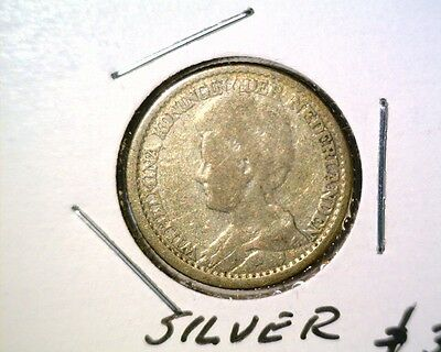 1918  Netherlands Silver 25 cents Coin KM#146 .0731 ASW