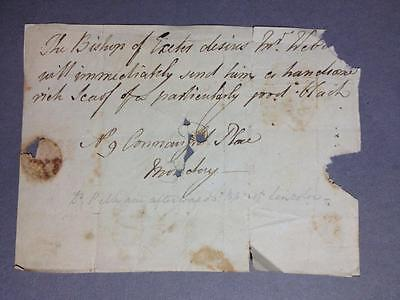 George Pelham, Bishop of Exeter needs 'a handsome rich scarf', LETTER, 1817