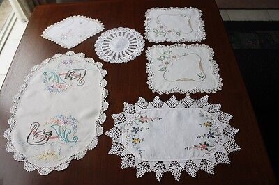 6x Vintage Cream & White Linen Embroidered & Crocheted DOILIES #88