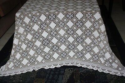 Vintage Cream & Deeper Cream Cotton Knotted Lace TABLECLOTH 190x140cm #89