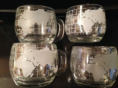 4 Nestle Glass Globe Collectable Coffee Mugs 8oz. Made in Japan