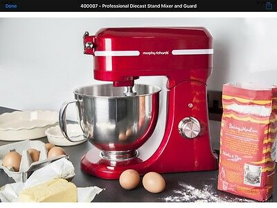 400007 Morphy Richards Professional Diecast Stand Mixer with Guard metallic Red