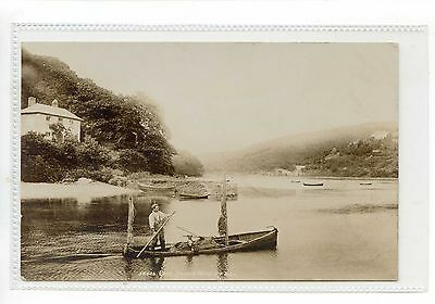 Cornwall - Rppc Man And His Dog In Fishing Boat On River Near Looe