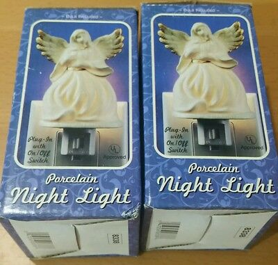 NIGHT LIGHT PORCELAIN ANGEL x 2 BONUS OUTLET PLUG IN WITH SWITCH NEW