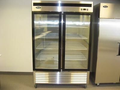 New 2 Door Glass Led Light Display Freezer 120 Volt For Frozen Food With Casters