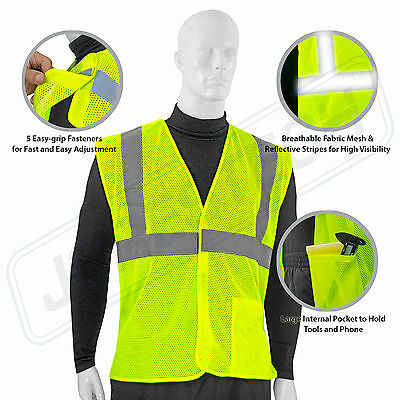 Safety Vest 5 Point Breakway  Lime-Green  Road Work, Hiking, Hunting