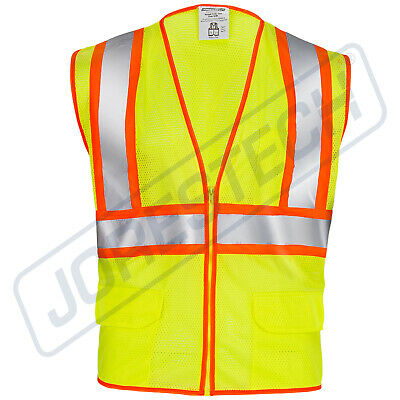 Class 2 Reflective Jorestech Safety Vest with Pockets, Yellow/Lime