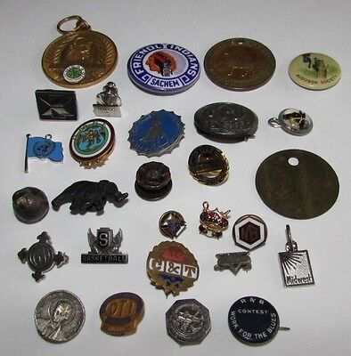 Mixed Lot Vtg Pins Fobs Charms Chicago Employee Award Lapel Pins etc