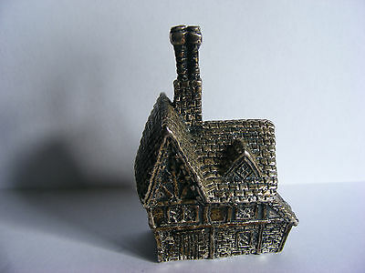"""Miniature Antique Silver Plated Model (Tudor House) Stamped """"RH"""". c 1920"""