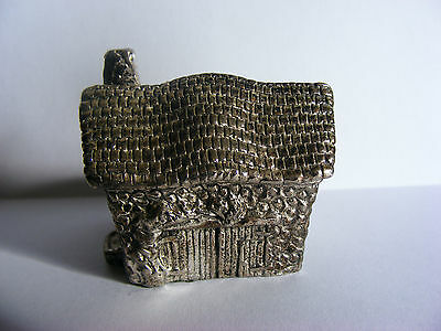"""Miniature Antique Silver Plated Model (Cottage) Stamped """"RH"""". c 1920"""