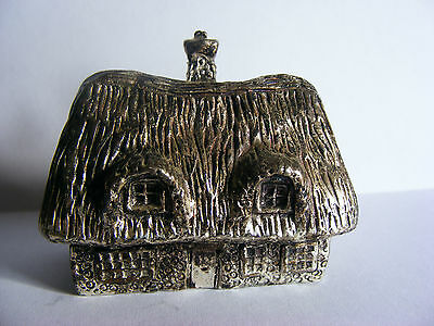 """Miniature Antique Silver Plated Model (Thatched Cottage) Stamped """"RH"""". c 1920"""