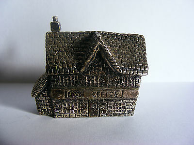 """Miniature Antique Silver Plated Model (Post Office) Stamped """"RH"""". c 1920"""