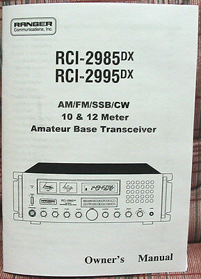 Ranger RCI-2985DX - RCI-2995DX 10 Meter Radio Owners Manual