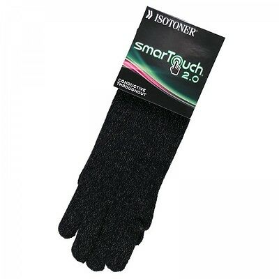 New Women's Isotoner Knit SmarTouch Smart Touch Gloves Black One Size