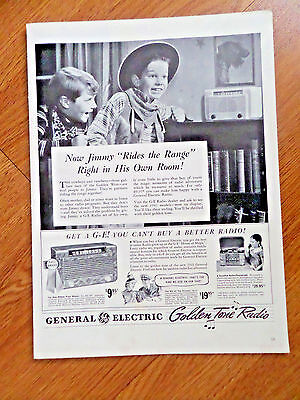 1941 GE General Electric Radio Phonograph Ad  Jimmy Rides the Range