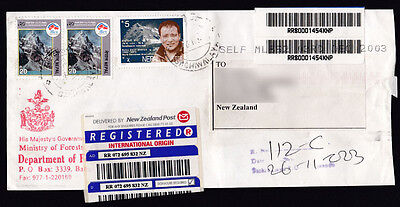 2003 Registered letter cover from Nepal to New Zealand