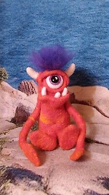 Monster Toy, Needle Felted Wool Monster, Handmade Monster Soft Sculpture Cyclops