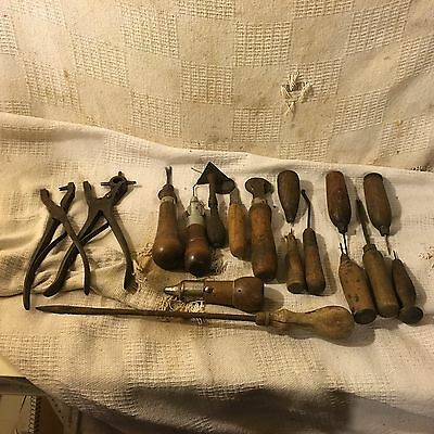 Lot of 17 vintage leather working tools