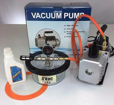 New 1.75 quart Vacuum Chamber and 2.5 CFM Dual Stage Pump Degassing Silicone Kit