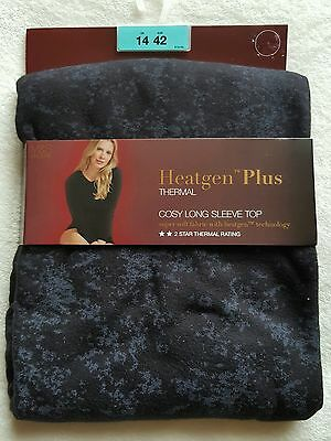 "New M&S ""Heatgen Plus"" Thermal Cosy Long Sleeve Top size 14  Black Mix"