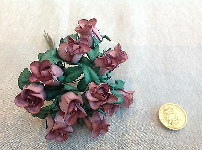 12 MULBERRY Paper Roses - Craft Flowers Scrapbooking Large Buds Wedding MAUVE