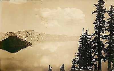 Crater Lake Oregon~Calm Water~Reflection Mirrors Sky~Shore~1929 Real Photo~RPPC