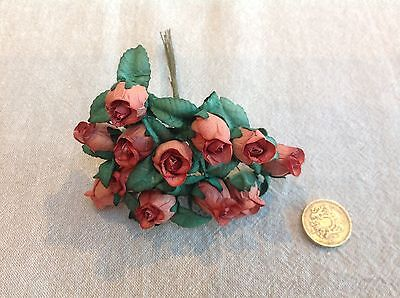 12 TERRACOTTA Mulberry Paper Roses Craft Flowers Scrapbooking Large Buds Wedding