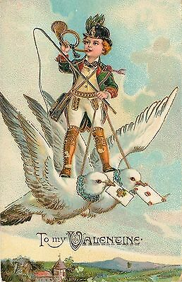 PFB~Valentine~Boy Straddles Pair of Flying Doves~Blows Curled Horn~GEL Brilliant