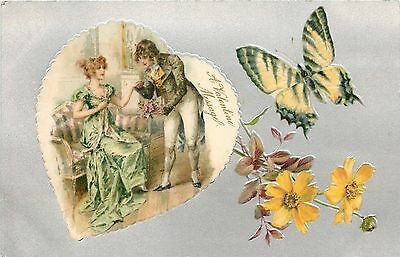 Valentine~Elegant Couple~Heart Frame~Green Yellow Butterfly~Silver Back~Emb~1905
