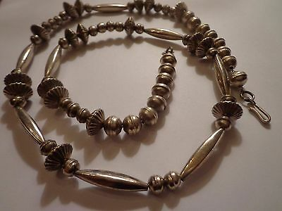 Vtg Old Pawn Native American Indian Navajo Sterling Silver Pearl Bead Necklace