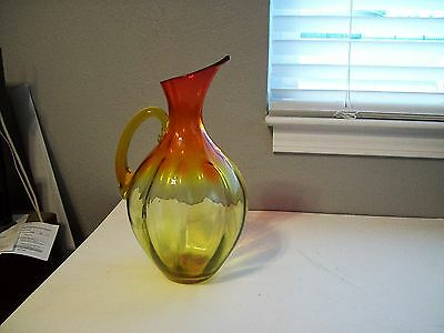 Vintage Blenko Hand-Crafted Red Art Glass Pitcher With Amber Handle