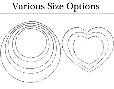 Crimped Metal Hearts & Hoops for Wreath Making - Choice of Size