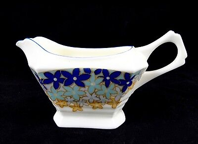 PLANT TUSCAN China England Art Deco Creamer Blue & Gold Flowers 1936+
