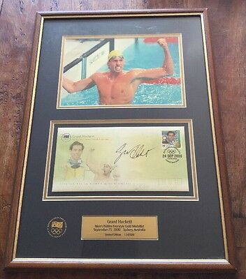 Collectable Memorabilia Swimming Grant Hackett Australian Framed Olympic Photo