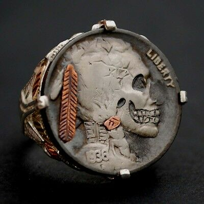 1936 Indian Head Hobo Nickel Skull Face Zombie Coin 925 Sterling Silver 12k Ring