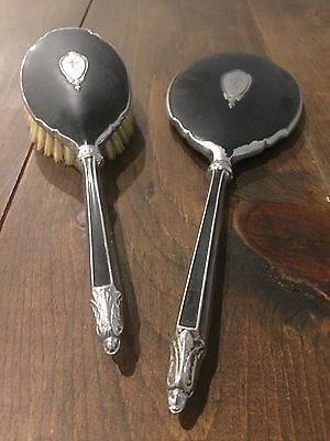 Vintage Saart Brothers Vanity Hand Mirror And Hair Brush Dresser Set