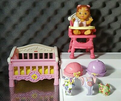 Fisher Price Snap n' Style Doll Crib 2006 Clothes Hats High Chair Snap On