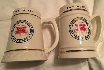 Lewis Bros Ceramics Miller High Life First Texas Brew Ft Worth 1969 Mug Set Of 2