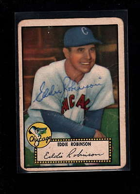 1952 Topps  #32 Eddie Robinson Authentic On Card Autograph Signature Ax1876