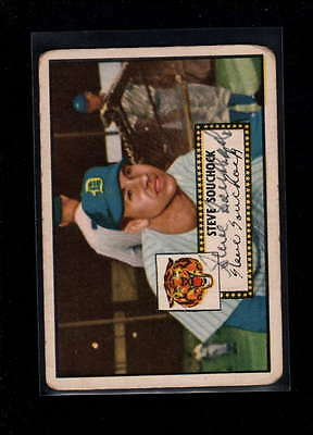 1952 Topps  #234 Steve Souchock Authentic On Card Autograph Signature Ax1882