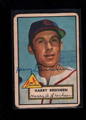 1952 Topps  #263 Harry Brecheen Authentic On Card Autograph Signature Ax1886