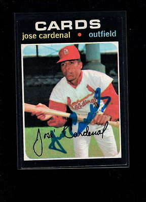 1971 Topps #435 Jose Cardenal Authentic On Card Autograph Signature Ax1989